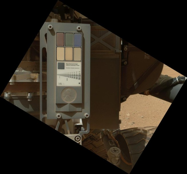 A calibration target intended for the camera attached to the robotic hand. Photo: NASA/JPL-Caltech/Malin Space Science Systems.