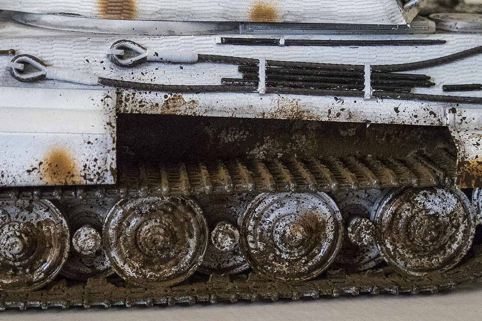 This detail shot of a model tank shows off how the artist handled the tank's patina.