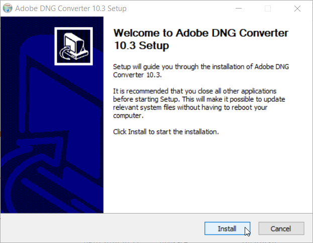 How to Integrate Adobe DNG Converter into ZPS: installing the converter.