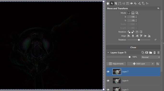 Focus Stacking: aligning of layers.