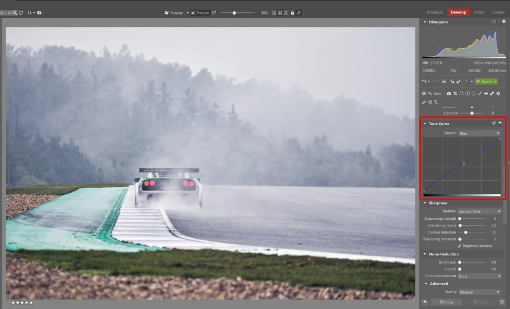 How to Edit Car Racing Photos - tone curve